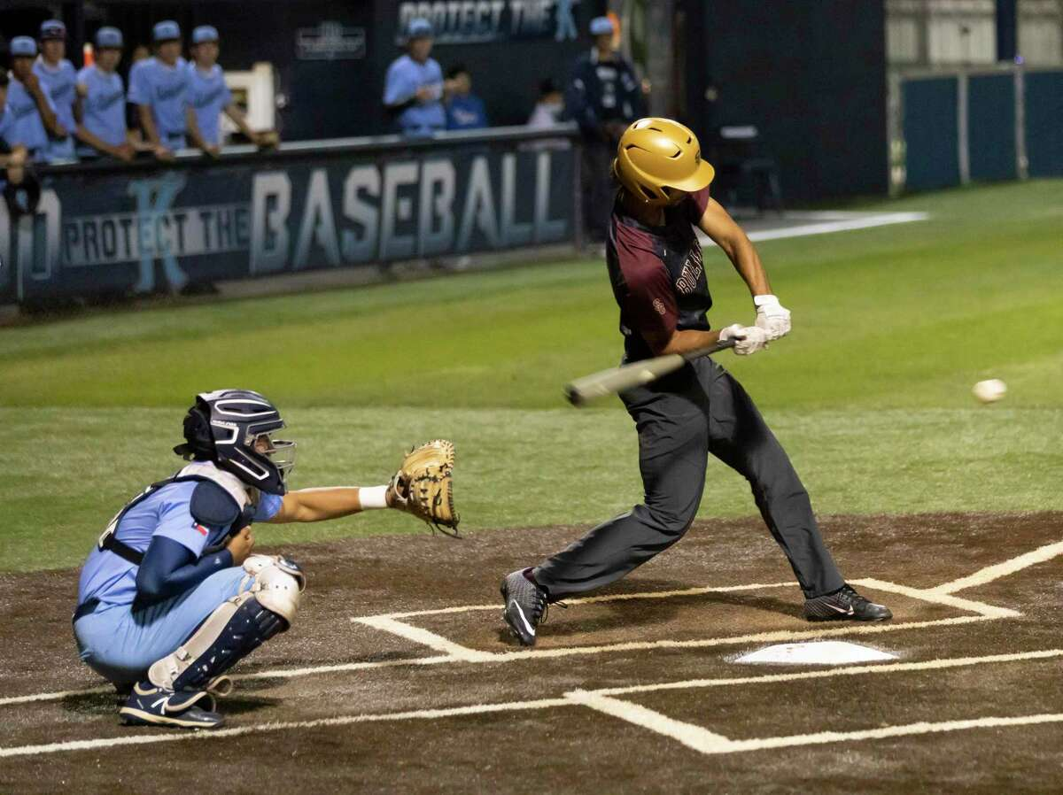 Jayden Duplantier #7 of Summer Creek hits the ball during the fourth inning of a District 21-6A baseball game at Kingwood High School, Tuesday, April 27, 2021, in Kingwood.