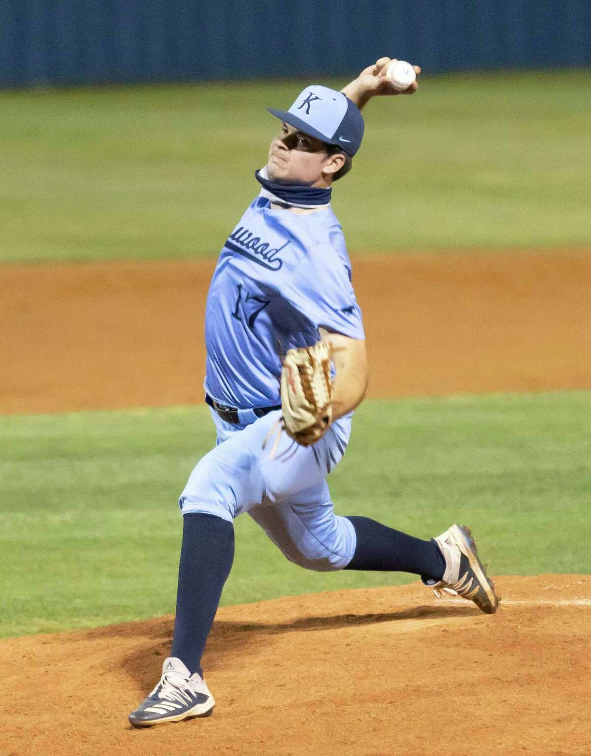 Kingwood pitcher Trapper Pierce (17) pitches the ball during the fourth inning of a District 21-6A baseball game against Summer Creek at Kingwood High School, Tuesday, April 27, 2021, in Kingwood.