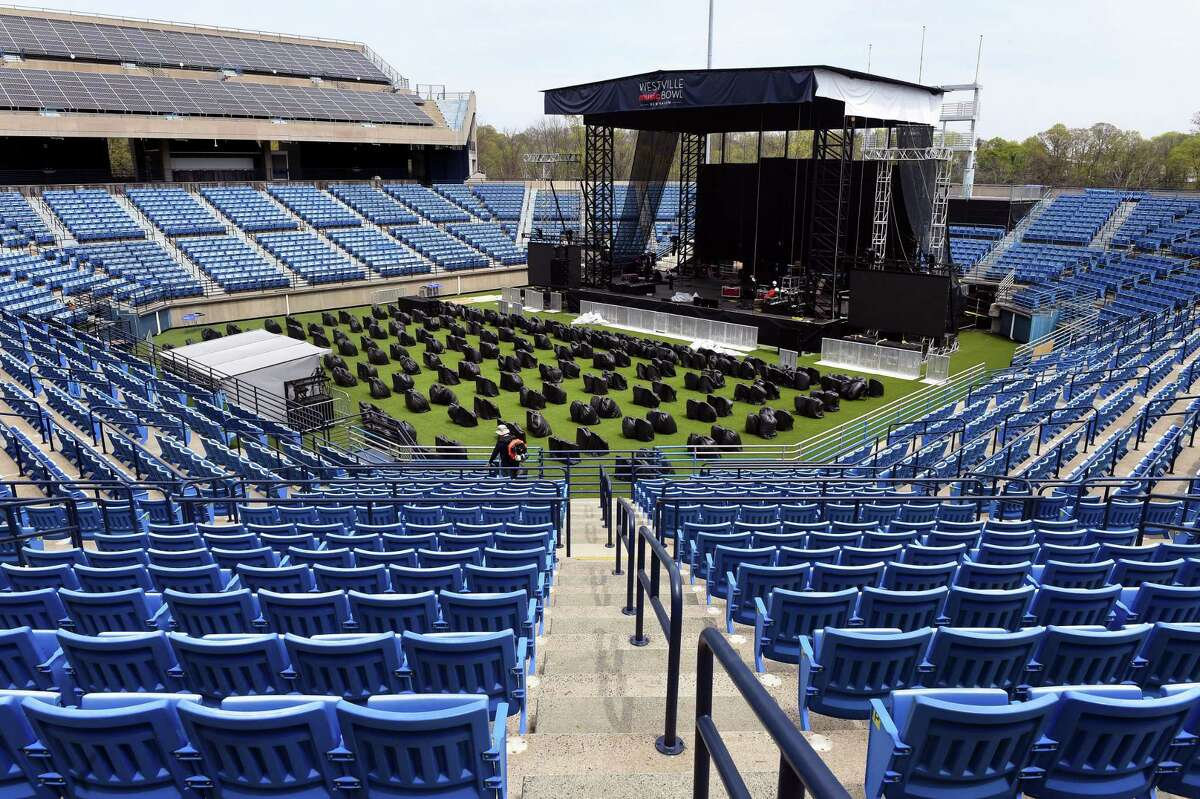 The Connecticut Tennis Center in New Haven is transformed into the Westville Music Bowl on April 28, 2021.