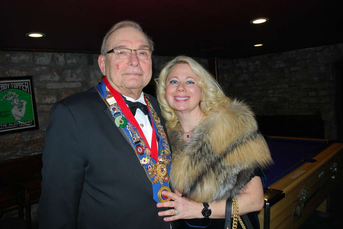 Joel Spiro and his wife, Kira, at an event for the Chaine des Rotisseurs, a French dining society for which Spiro co-founded the local chapter. (Photo courtesy Bill Harris.)