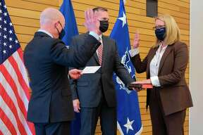 Secretary of Homeland Security Alejandro N. Mayorkas on April 27 swore in Deanne Criswell as FEMA's 12th Administrator, the first woman confirmed to serve in this role. (Courtesy photo/FEMA)