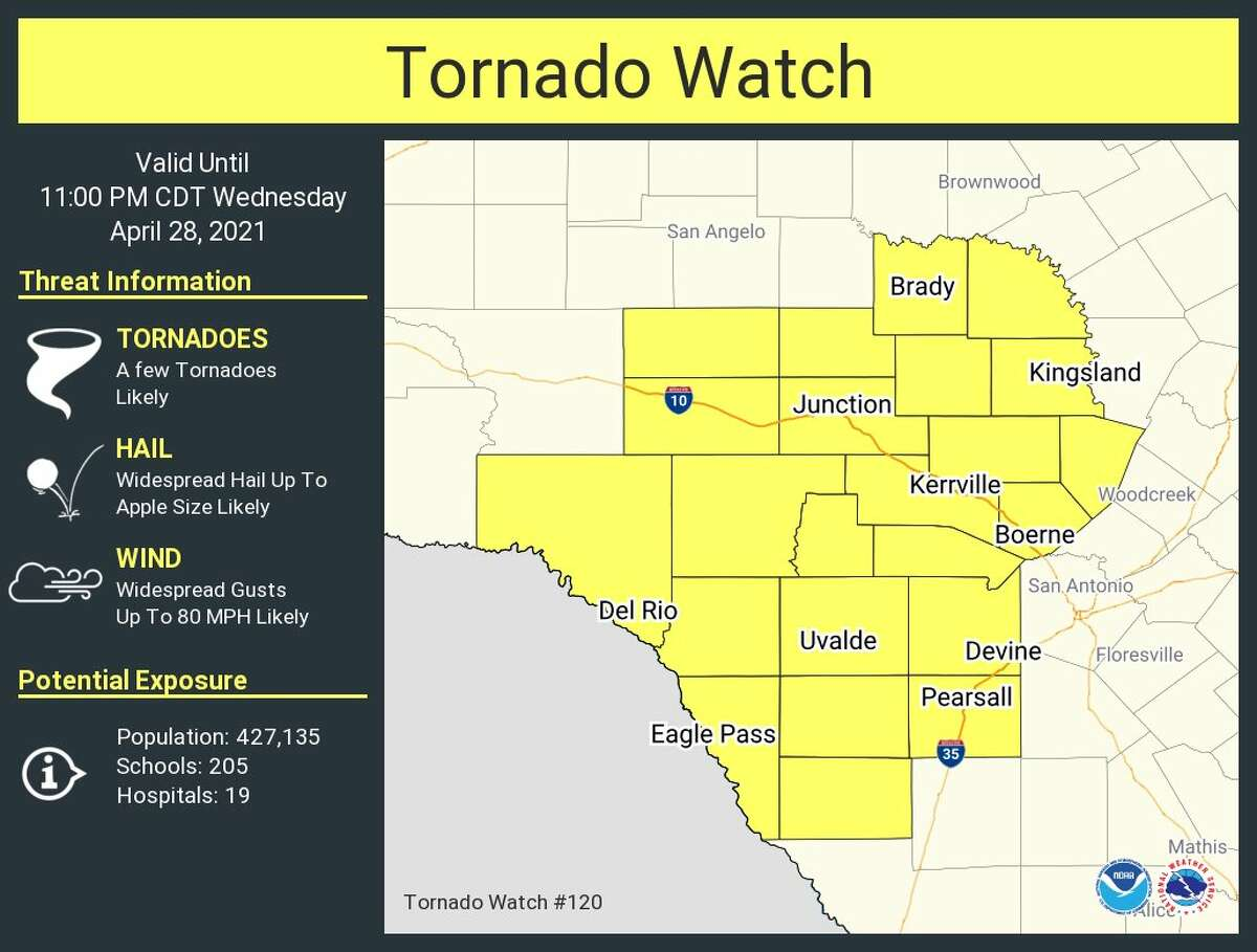 Tornado watch issued for areas West of San Antonio.