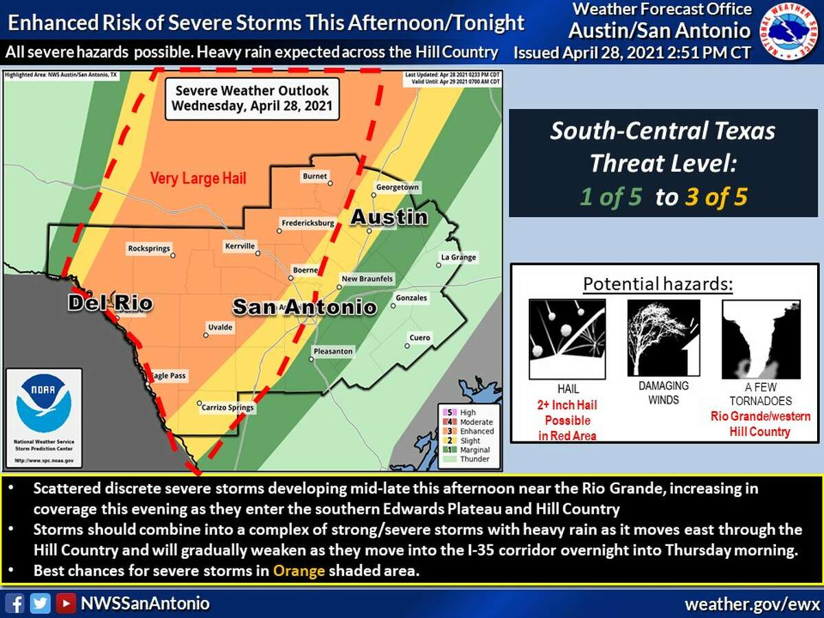 Severe weather threat continues for the San Antonio area.