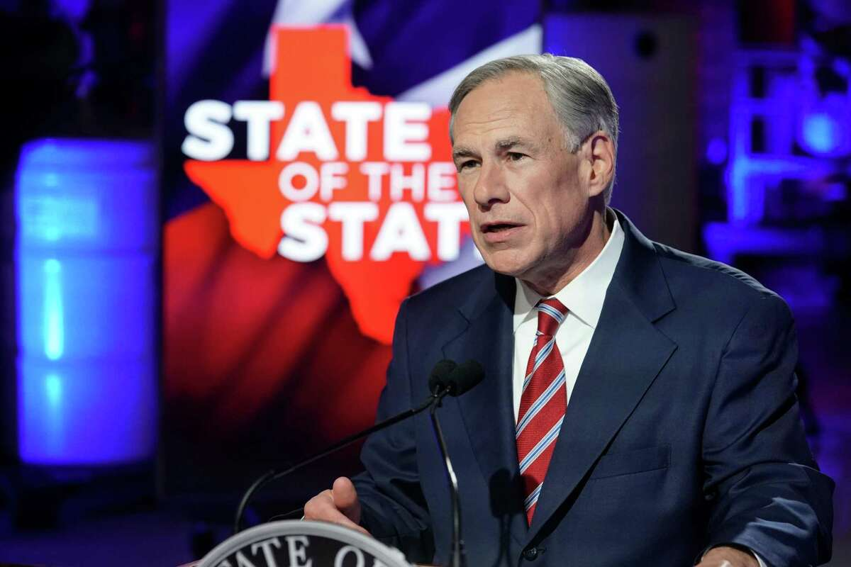 Texas Gov. Greg Abbott prepares to deliver his State of the State speech at Visionary Fiber Technologies outside Lockhart, Texas, on Feb. 1, 2021.