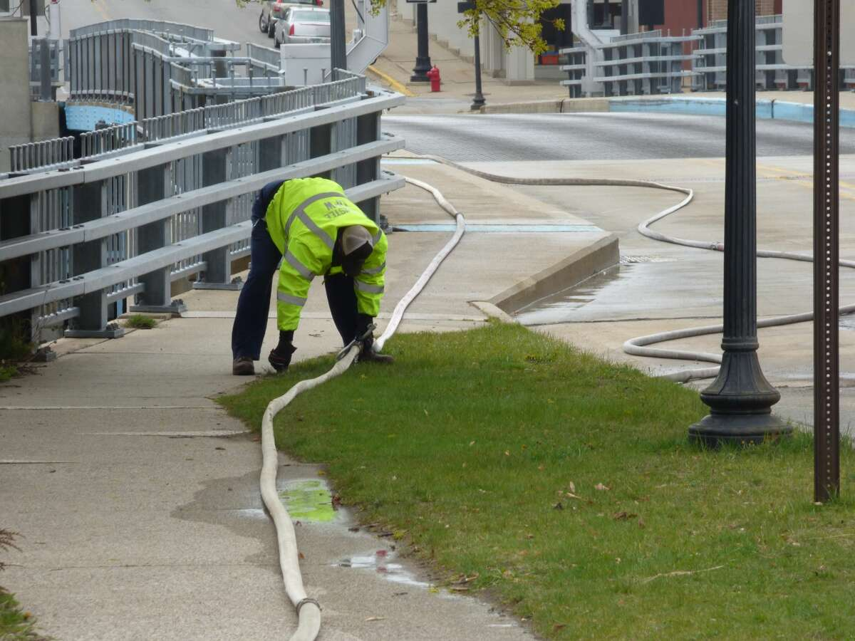 The Maple Street Bridge was closed Wednesday morning for annual cleaning and maintenance.