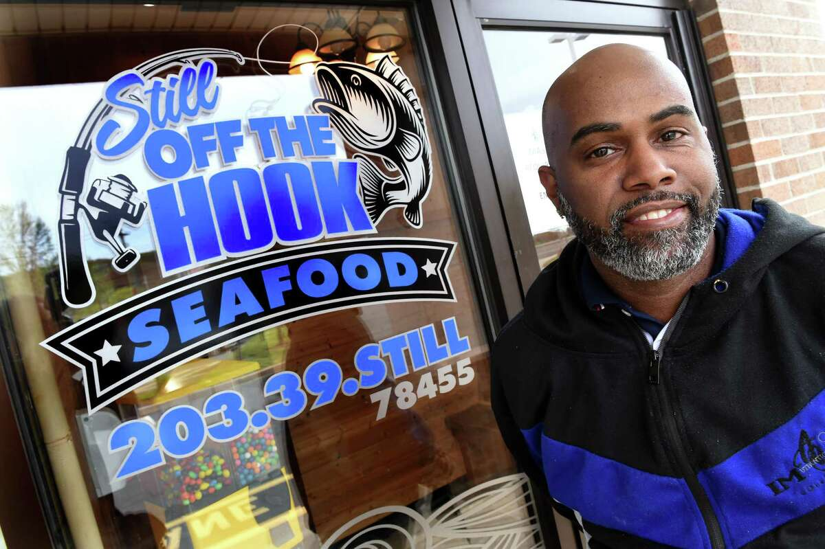 Paul Hill, owner of Still Off The Hook, is photographed outside of the eatery on Whalley Avenue in New Haven on April 28, 2021.