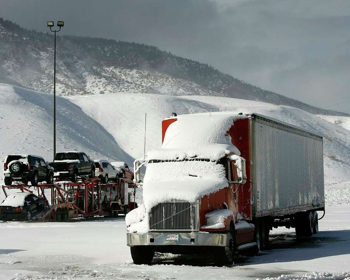 Trucks are stranded on Interstate 5 in Frazier Park (Kern County) during a winter storm in 2008.