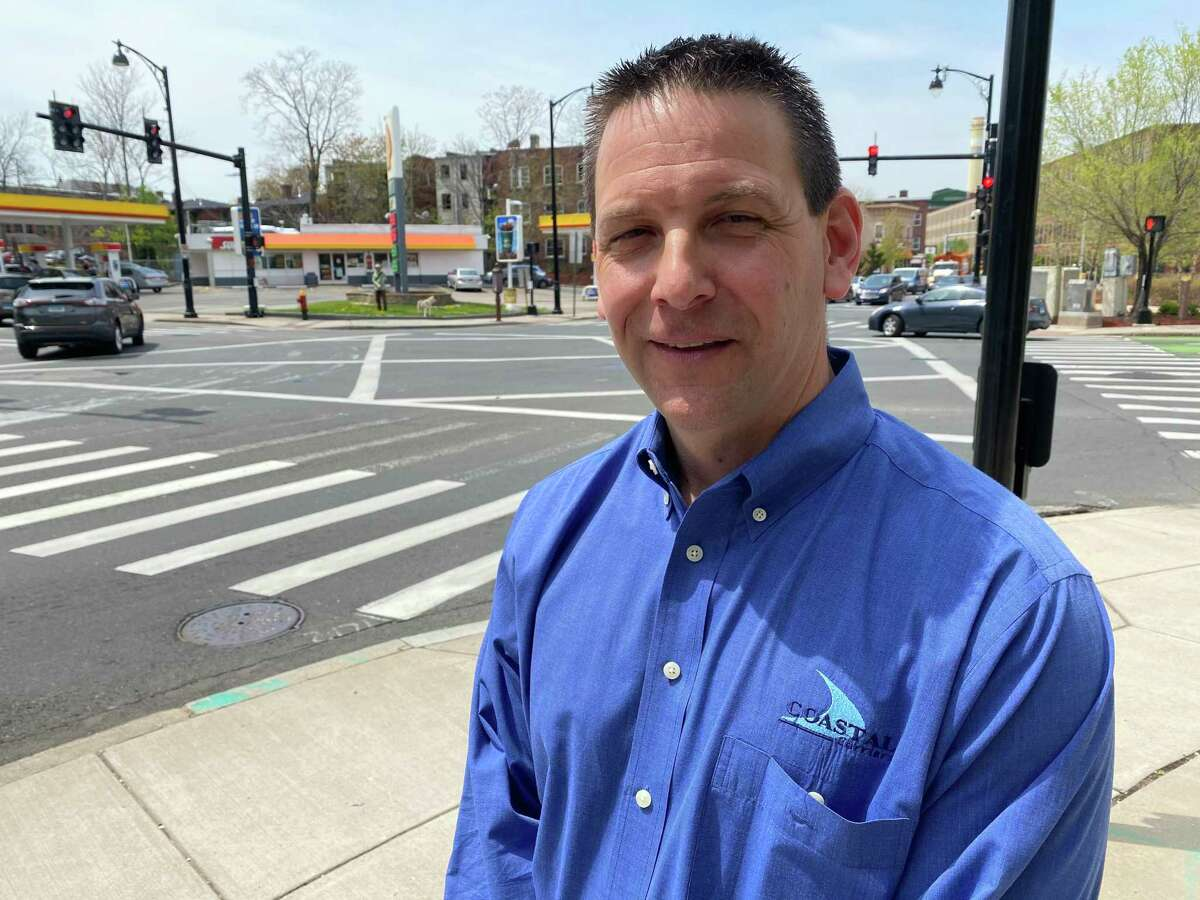 John Pruchnicki, owner of the Ansonia-based Coastal Carriers of Connecticut, a fuel oil wholesale delivery service, says Gov. Ned Lamont's proposed truck highway user tax would cost him $175,000, which he would pass on to his oil company customers. He is shown in Hartford, where he joined Republican leaders in opposing the plan.