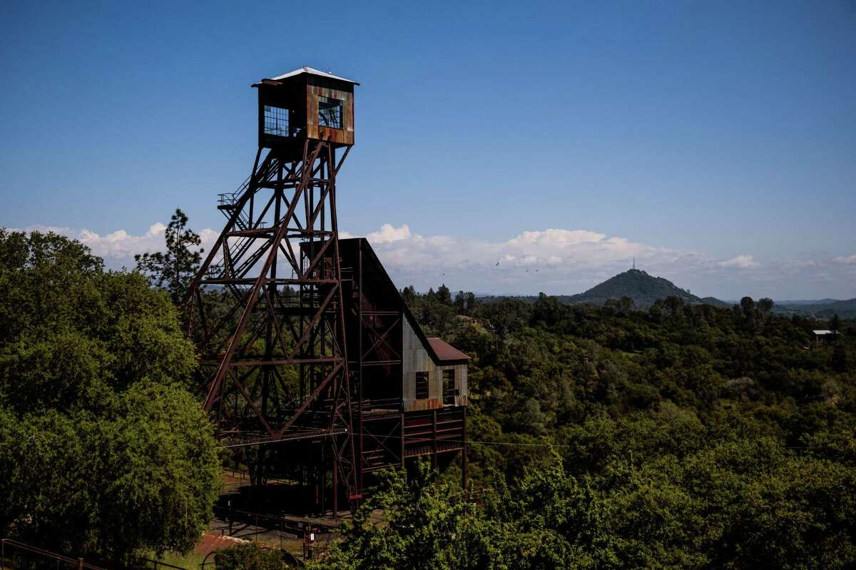 An ALERTWildfire camera is mounted on the top of the head frame of the Kennedy Gold Mine in Jackson, California.
