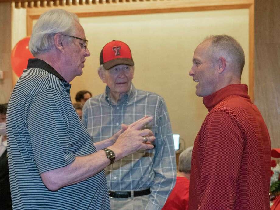 Red Raider Club members in Midland visit with Texas Tech head football coach Matt Wells 04/28/2021 at the Petroleum Club. Tim Fischer/Reporter-Telegram Photo: Tim Fischer, Midland Reporter-Telegram