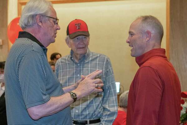 Red Raider Club members in Midland visit with Texas Tech head football coach Matt Wells 04/28/2021 at the Petroleum Club. Tim Fischer/Reporter-Telegram