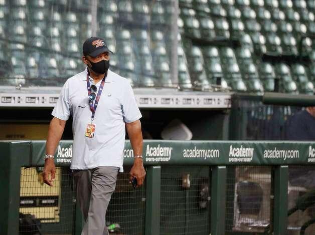 Reggie Jackson during batting practice before the start of an MLB baseball game at Minute Maid Park, Wednesday, April 28, 2021, in Houston. Photo: Karen Warren, Staff Photographer / @2021 Houston Chronicle