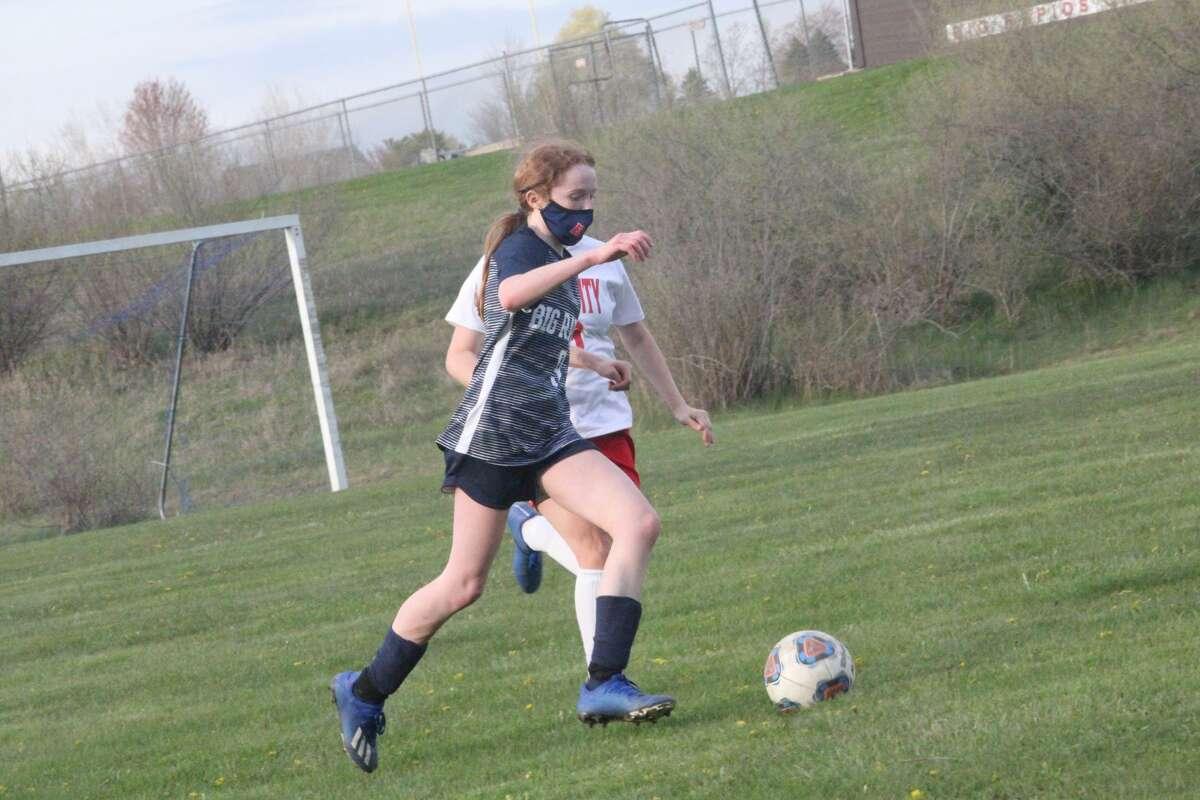 Big Rapids' girls soccer team blanks Kent City 8-0 in CSAA action.