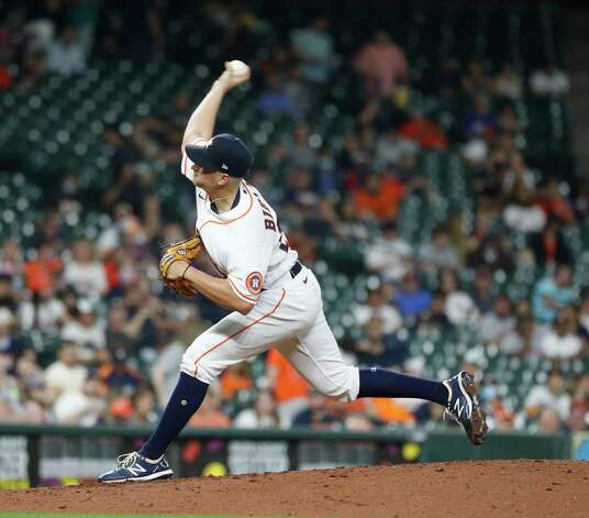 Houston Astros relief pitcher Brandon Bielak (64) pitches during the fifth inning of an MLB baseball game at Minute Maid Park, Wednesday, April 28, 2021, in Houston. Photo: Karen Warren, Staff Photographer / @2021 Houston Chronicle