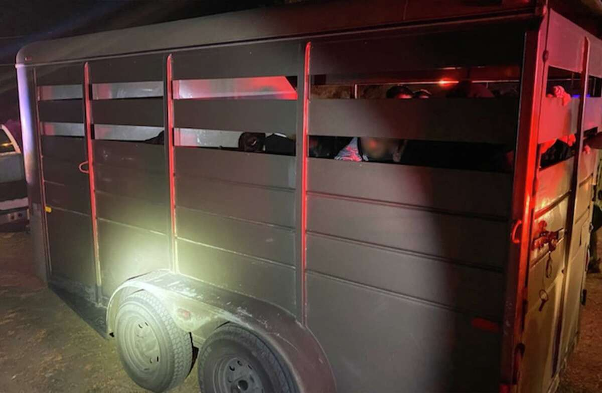 U.S. Border Patrol agents said they found 39 migrants inside this horse trailer.