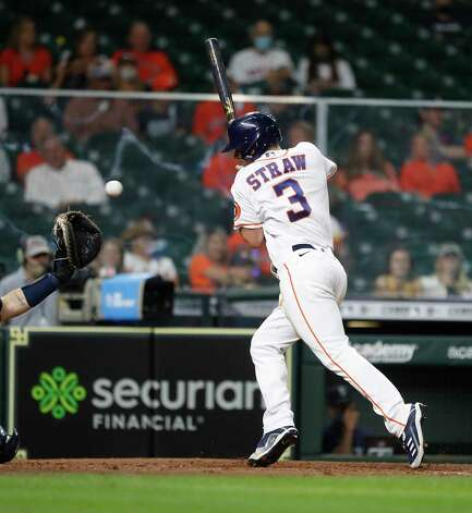 Houston Astros Myles Straw (3) gets hit by a pitch from Seattle Mariners relief pitcher Keynan Middleton (99) during the seventh inning of an MLB baseball game at Minute Maid Park, Wednesday, April 28, 2021, in Houston. Photo: Karen Warren, Staff Photographer / @2021 Houston Chronicle