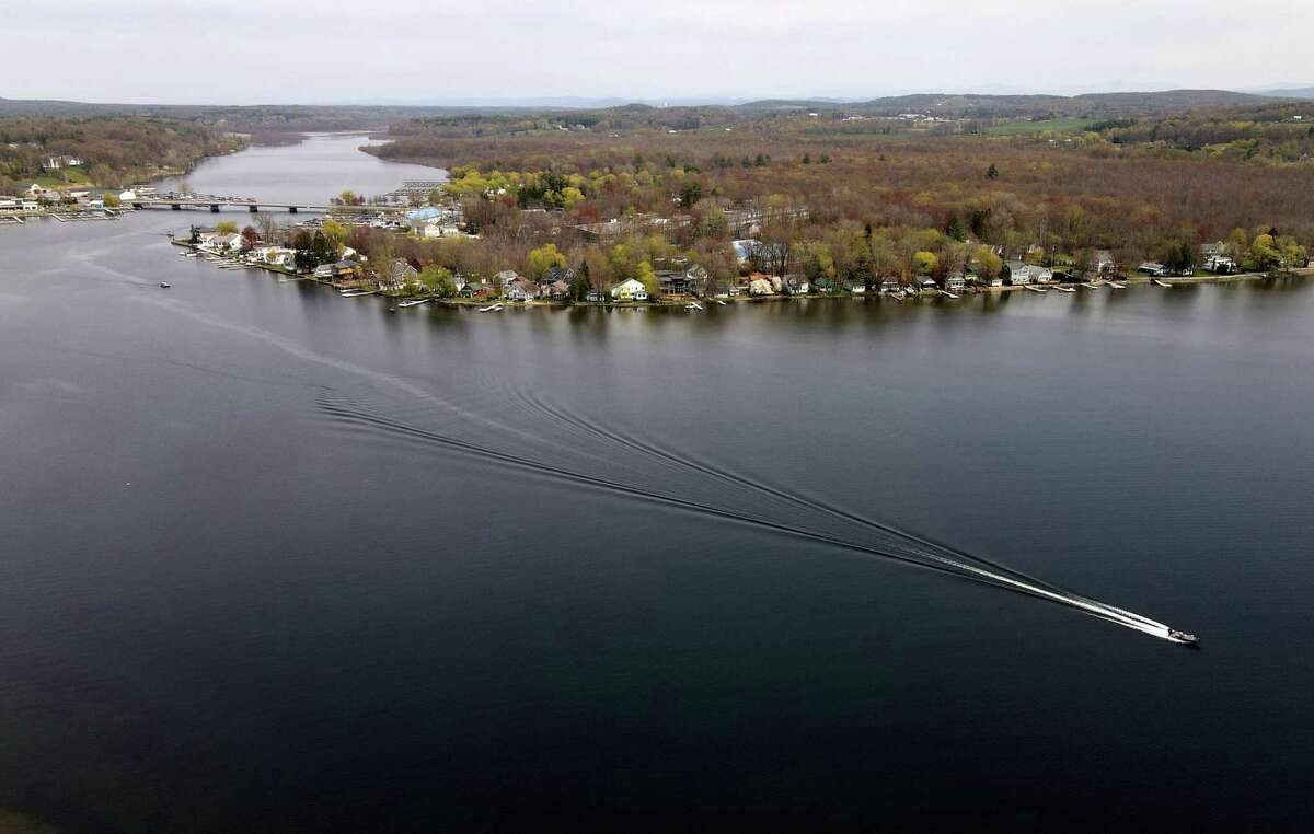 Aerial view of Saratoga Lake looking north toward Route 9P on Wednesday, April 28, 2021, in Saratoga, N.Y. (Will Waldron/Times Union)