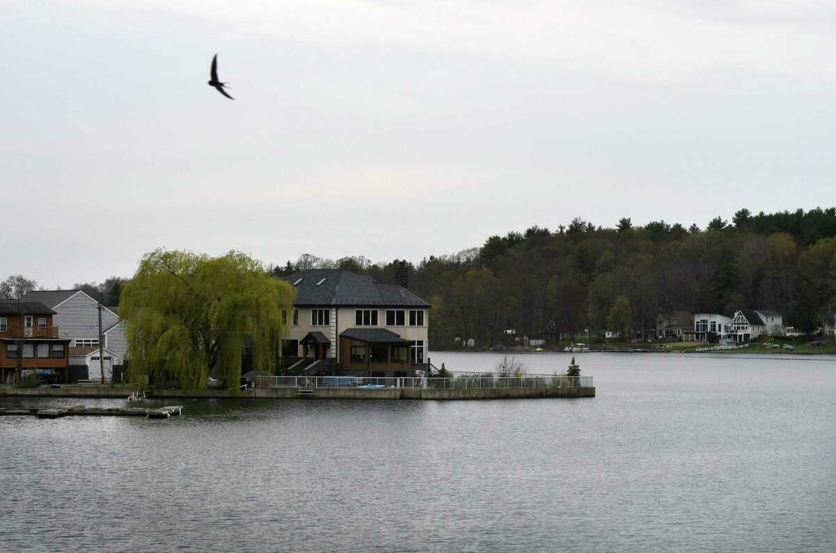 Saratoga Lake waterfront property is seen from Route 9P on Wednesday, April 28, 2021, in Saratoga, N.Y. (Will Waldron/Times Union)