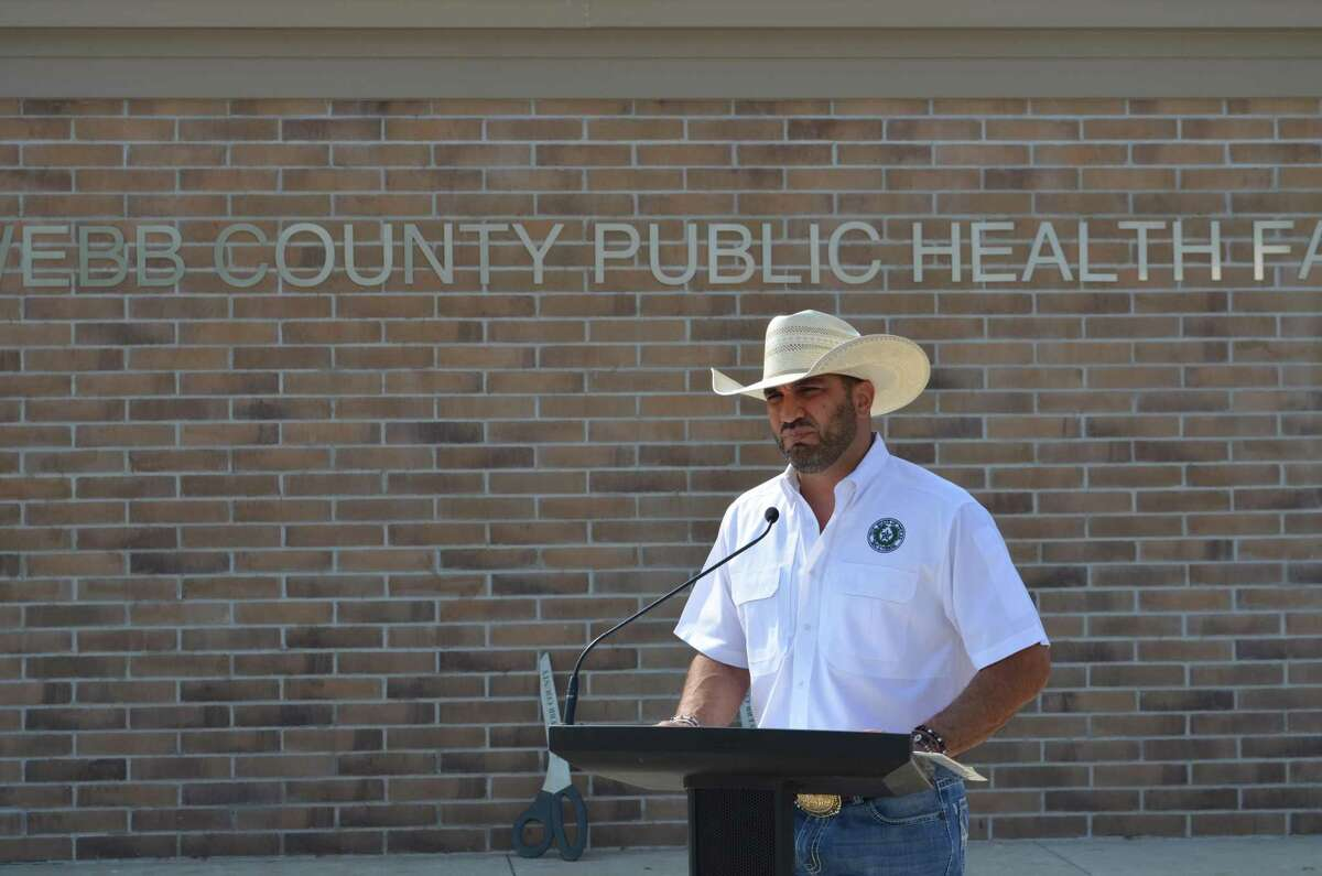 Webb County Judge Tano Tijerina speaks at the ribbon-cutting ceremony for the Webb County Public Health Facility in Bruni.