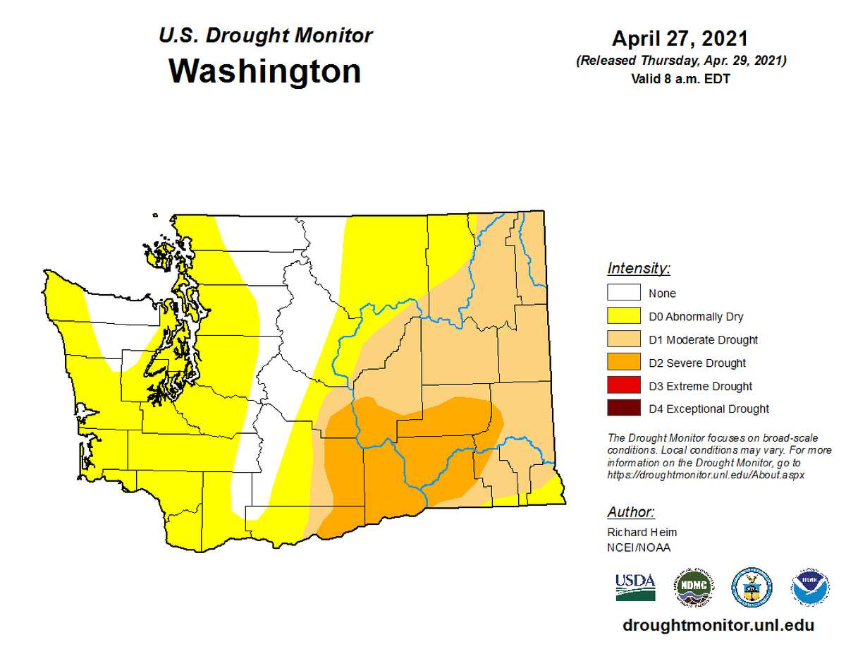 Drought Monitor shows most of western Washington is experiencing abnormally dry weather.