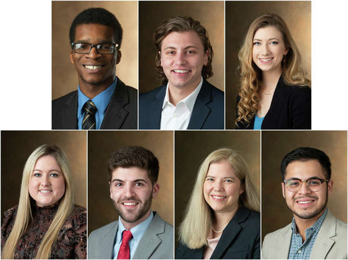 SIUE commencement speakers include, from left, top row, Ronald Akpan, Sam Childerson and Kenzie Holzinger; bottom row, Bailey Johnston, Conner McClain, Leanne Montgomery and Peter Romero.