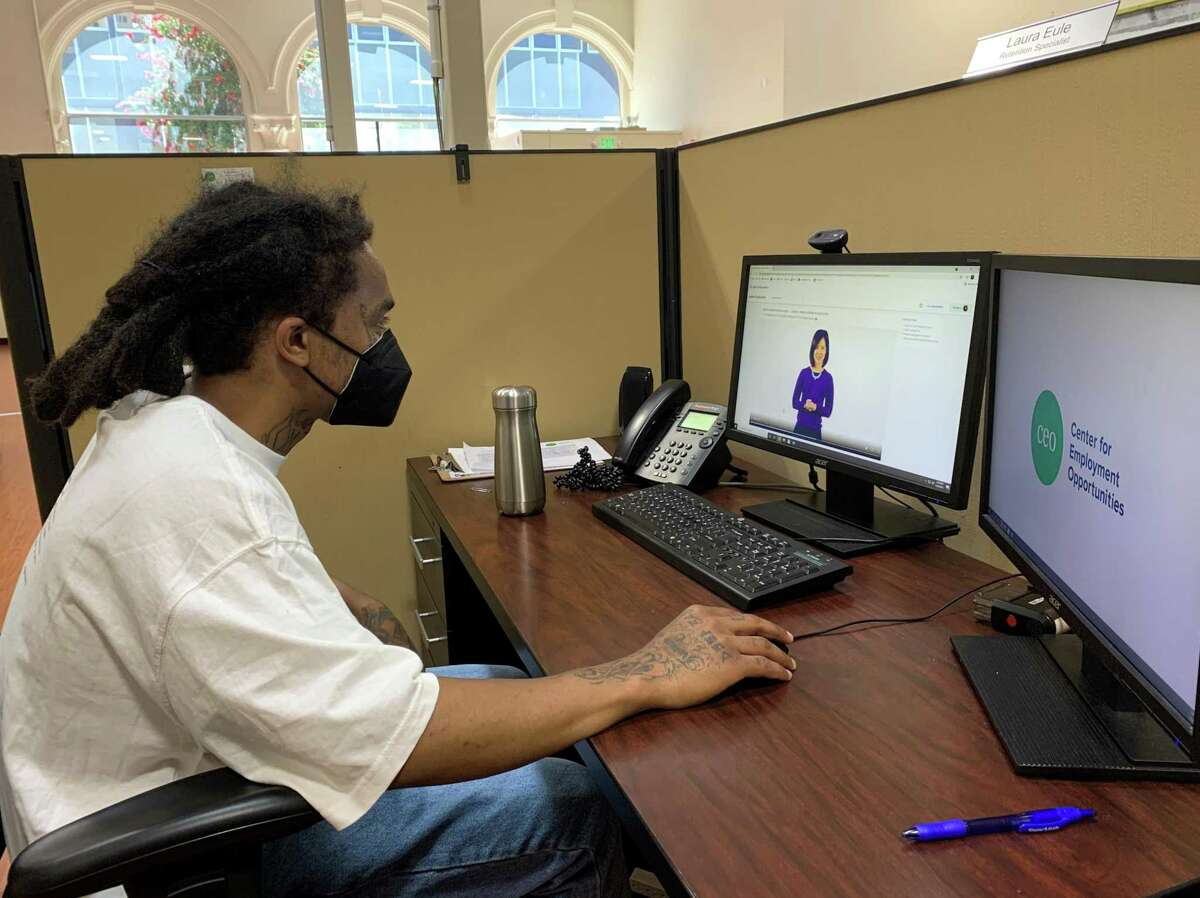 Luqman Ali drafts a resume using the Google Applied Digital Skills lessons course at the Center for Employment Opportunities in Oakland.