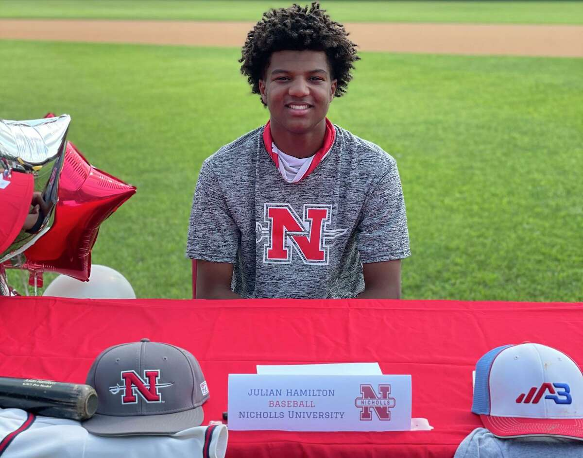 Julian Hamilton celebrated signing to play baseball at NIcholls State University at Memorial High School's Spring Signing Ceremony on the morning of April 29