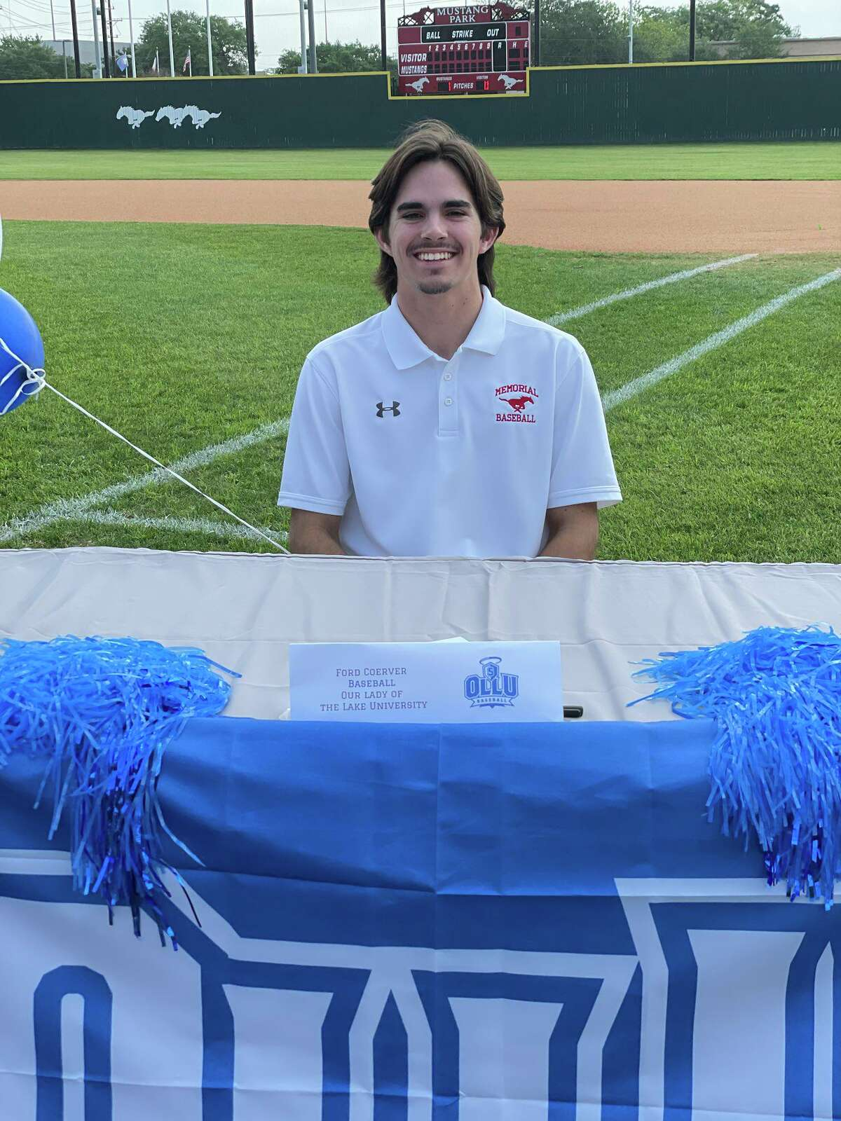 Ford Coerver celebrated signing to play baseball at Our Lady of the Lake University at Memorial High School's Spring Signing Ceremony on the morning of April 29