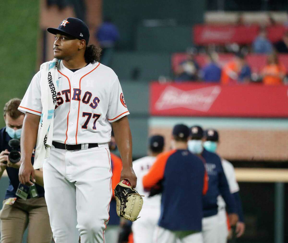 Houston Astros starting pitcher Luis Garcia (77) walks out of the bullpen before the start of the first inning of an MLB baseball game at Minute Maid Park, Thursday April 29, 2021, in Houston.