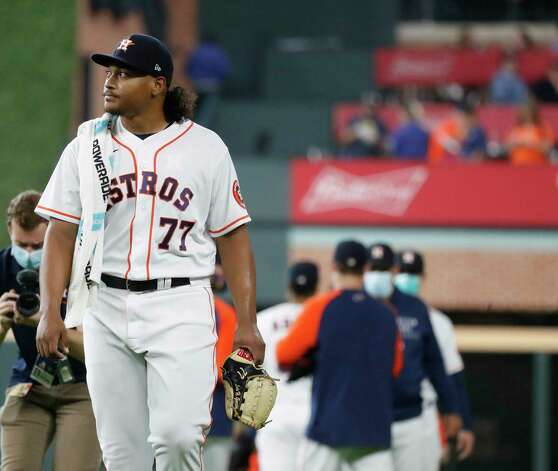 Houston Astros starting pitcher Luis Garcia (77) walks out of the bullpen before the start of the first inning of an MLB baseball game at Minute Maid Park, Thursday April 29, 2021, in Houston. Photo: Karen Warren, Staff Photographer / @2021 Houston Chronicle