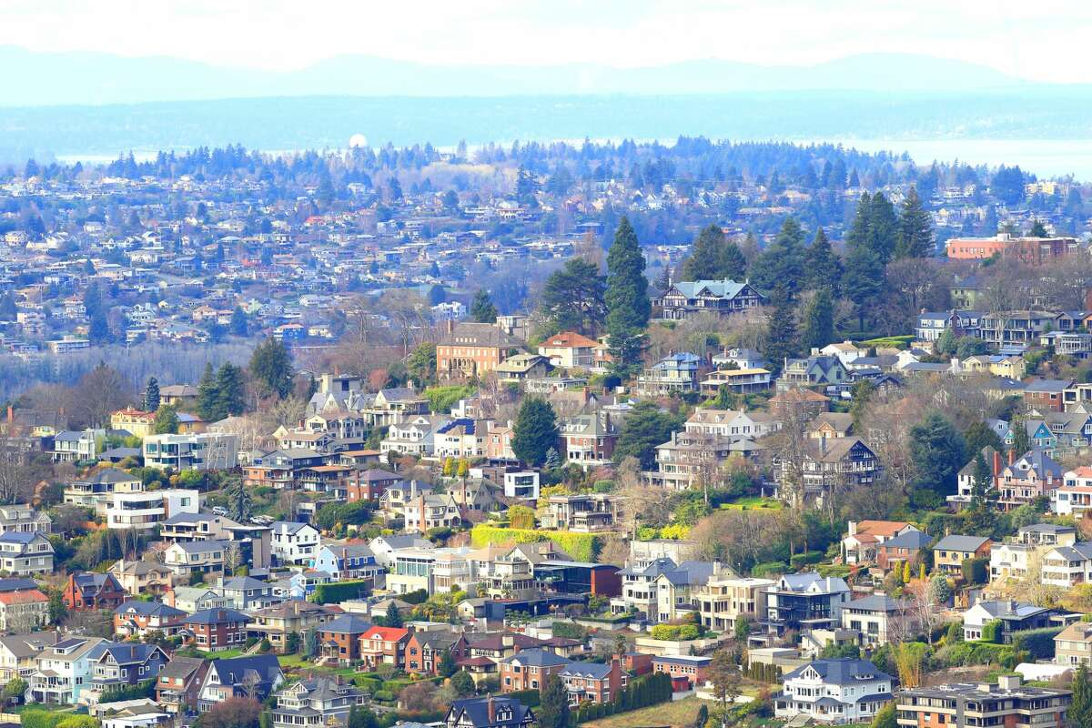 Aerial view of a neighborhood in Seattle.