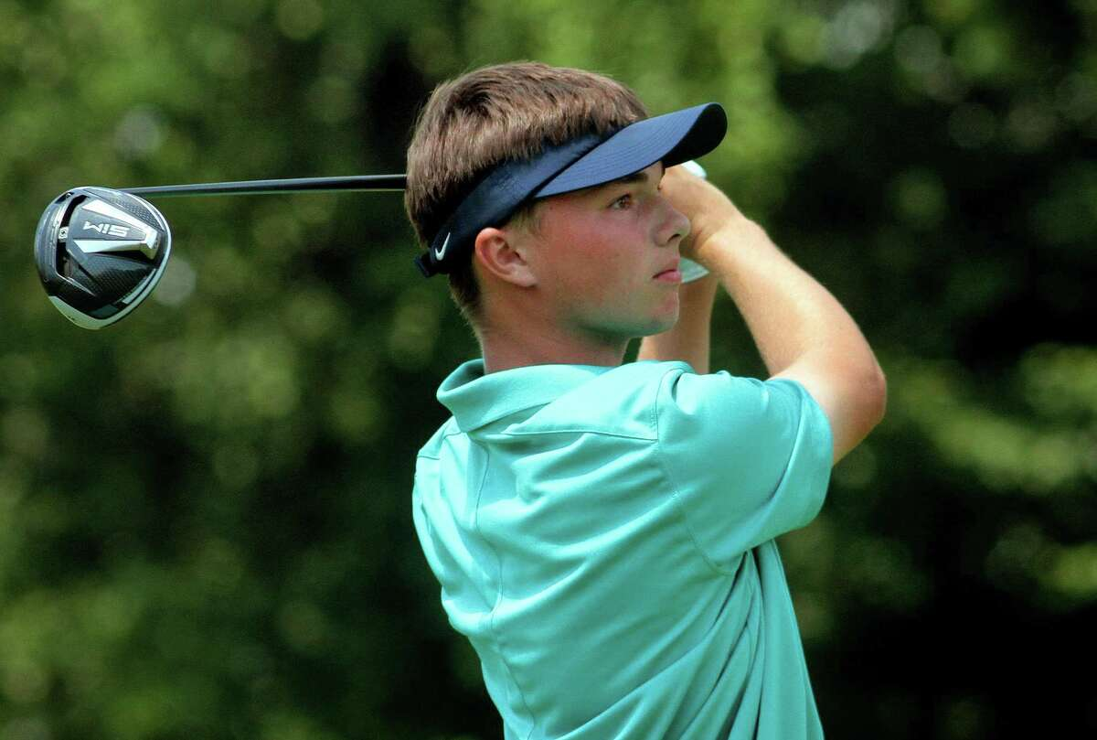 Jackson Roman tees off during the boys and girls final of the 51st Borck Junior Golf Tournament at the Country Club of New Canaan in New Canaan New Canaan, Conn., on Thursday July 29, 2020.