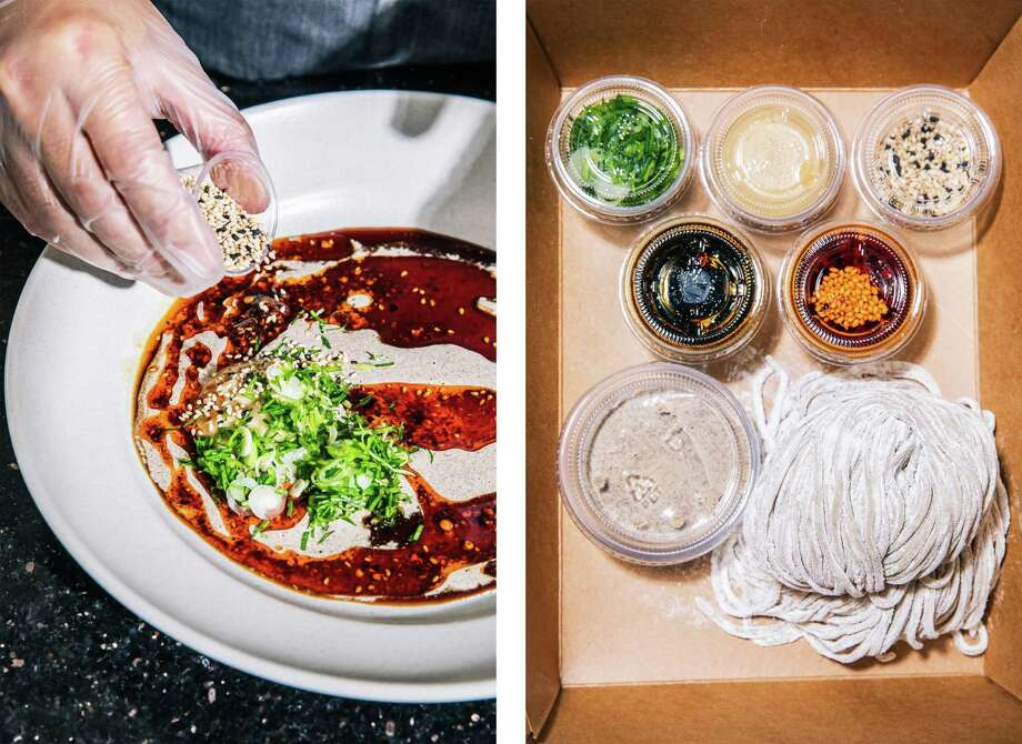 """Left: William Lim Do, founder of Lao Wai Noodles and former sous-chef at Mister Jiu's, combines toppings for his hand-pulled Neijiang """"sweet water"""" noodles at his home in Daly City. Right: A Neijiang """"sweet water"""" noodle kit made by William Lim Do, founder of Lao Wai Noodles and former sous-chef at Mister Jiu's. Photo: Stephen Lam / The Chronicle / San Francisoc Chronicle"""
