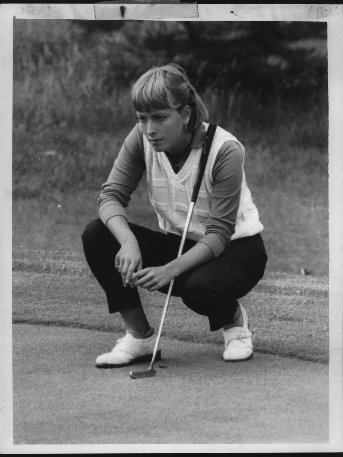 LPGA Golfer Dottie Pepper lines up a shot at Ballston Spa Country Club in New York. June 26, 1985. Now a broadcaster, Pepper, of Saratoga Springs, will appear on