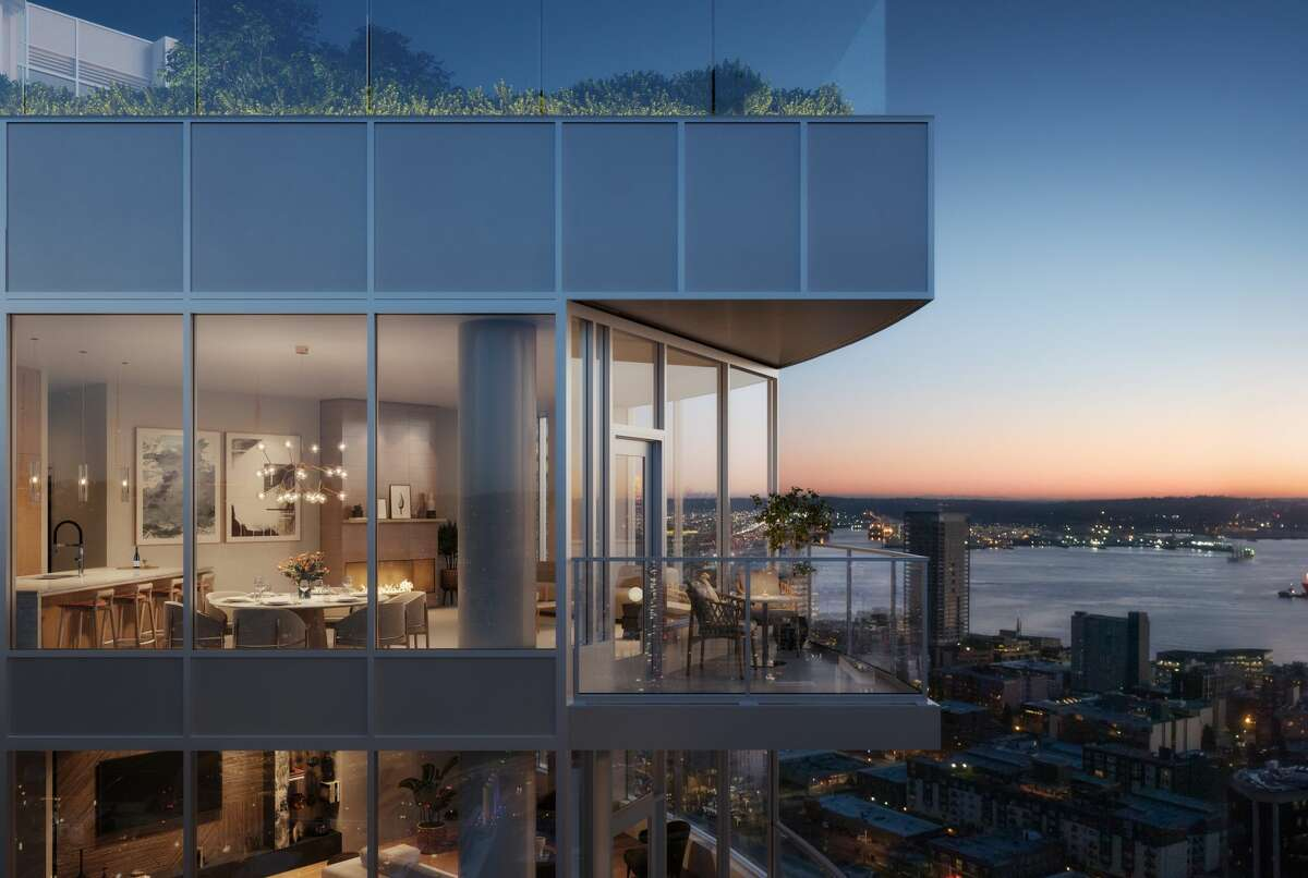 This rendering shows the Spire Tower, but these are the kinds of views buyers can get for less right now in Seattle's downtown.
