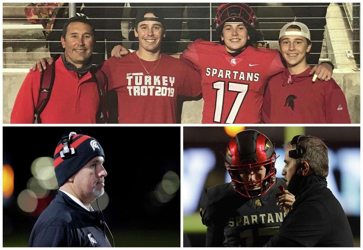 Former Porter offensive coordinator Billy Russell, top left, is taking over as the Spartans head coach. Former head coach Jim Holley, bottom, has been promoted to New Caney ISD athletic director.
