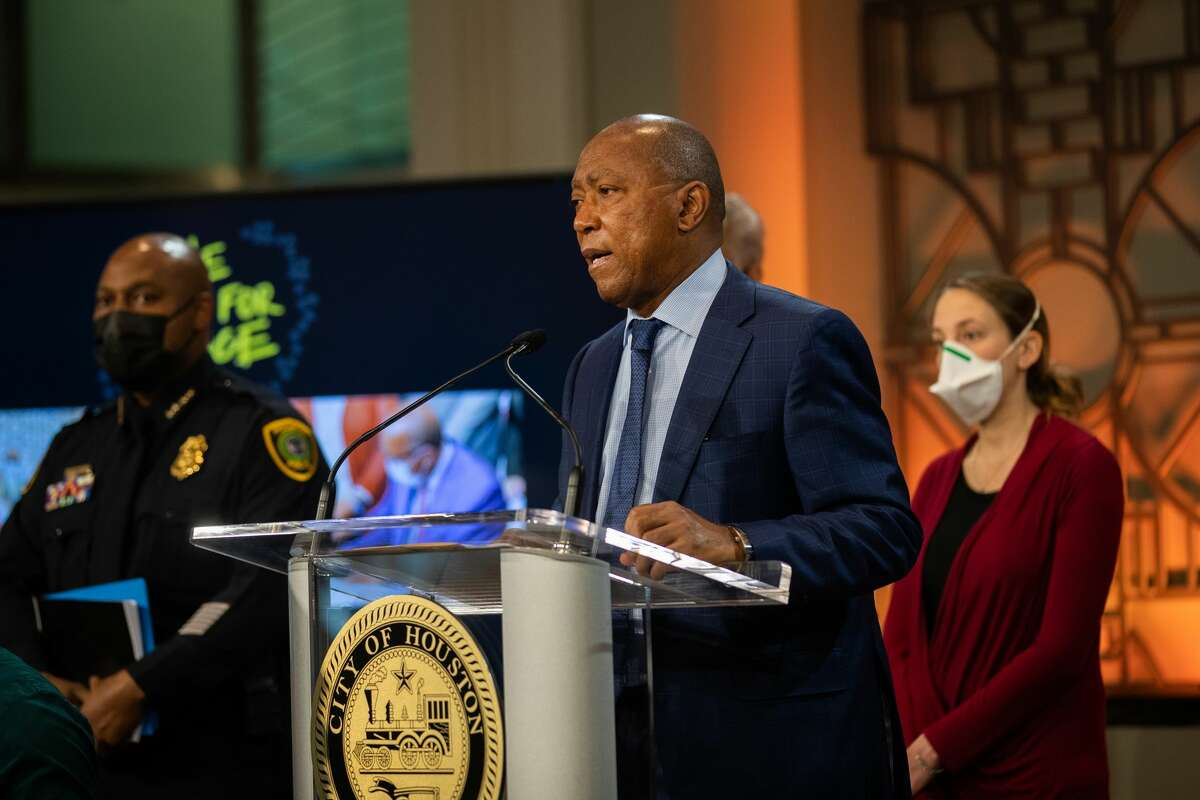 Houston Mayor Sylvester Turner announces the implementation of key recommendations submitted by the Mayor's Task Force on Policing Reform, Thursday, April 29, 2021, in Houston.