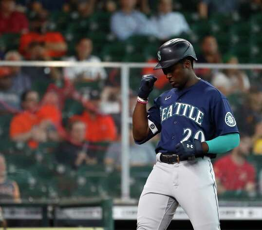 Seattle Mariners Taylor Trammell reacts after his home run off of Houston Astros starting pitcher Luis Garcia during the third inning of an MLB baseball game at Minute Maid Park, Thursday April 29, 2021, in Houston. Photo: Karen Warren, Staff Photographer / @2021 Houston Chronicle