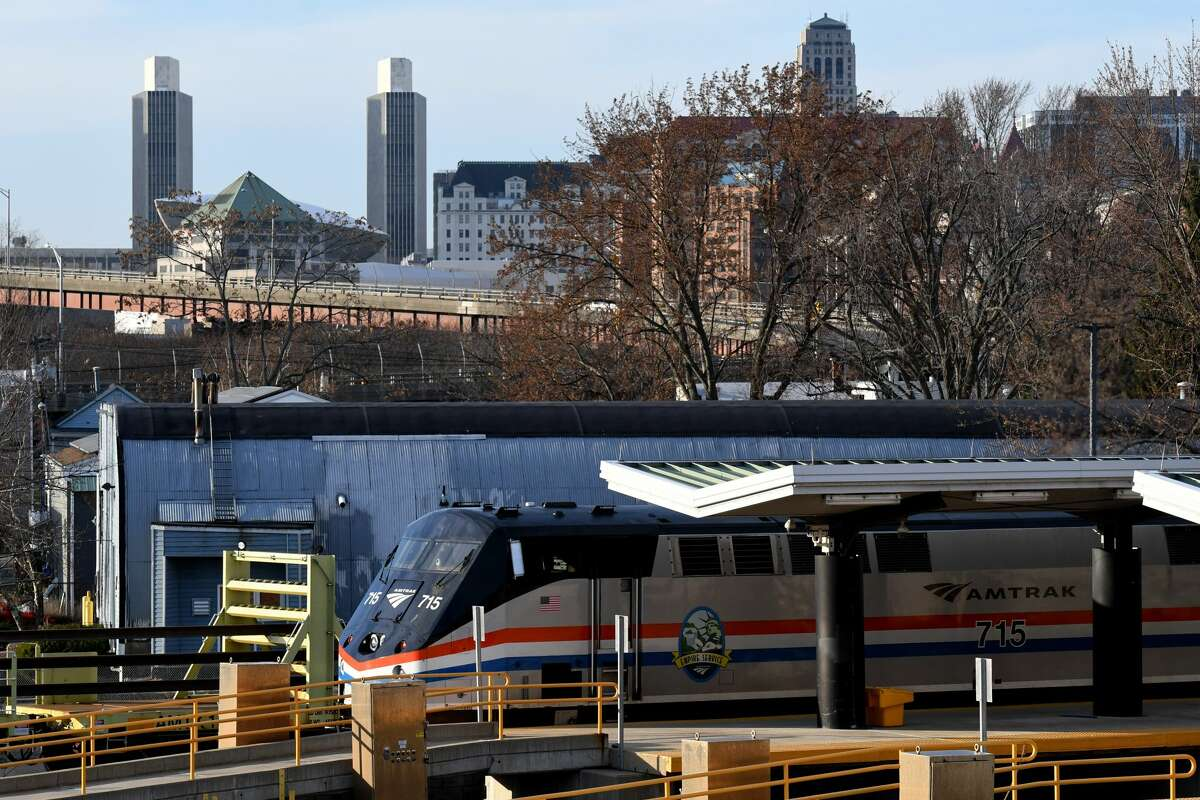 A New York City destined Amtrak train waits at the Albany-Rensselaer Amtrak station on Thursday, Nov. 19, 2020, in Rensselaer, N.Y. (Will Waldron/Times Union)