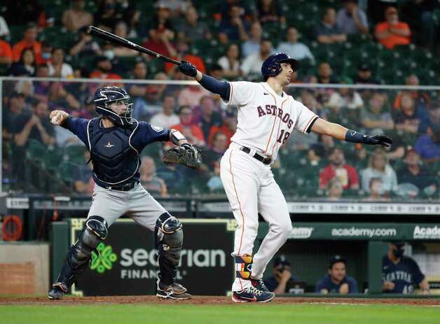 Houston Astros Jason Castro (18) strikes out against Seattle Mariners starting pitcher Yusei Kikuchi during the sixth inning of an MLB baseball game at Minute Maid Park, Thursday April 29, 2021, in Houston. Photo: Karen Warren, Staff Photographer / @2021 Houston Chronicle