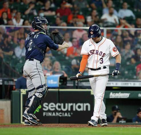 Houston Astros Myles Straw (3) rants after striking out against Seattle Mariners starting pitcher Yusei Kikuchi during the sixth inning of an MLB baseball game at Minute Maid Park, Thursday April 29, 2021, in Houston. Photo: Karen Warren, Staff Photographer / @2021 Houston Chronicle