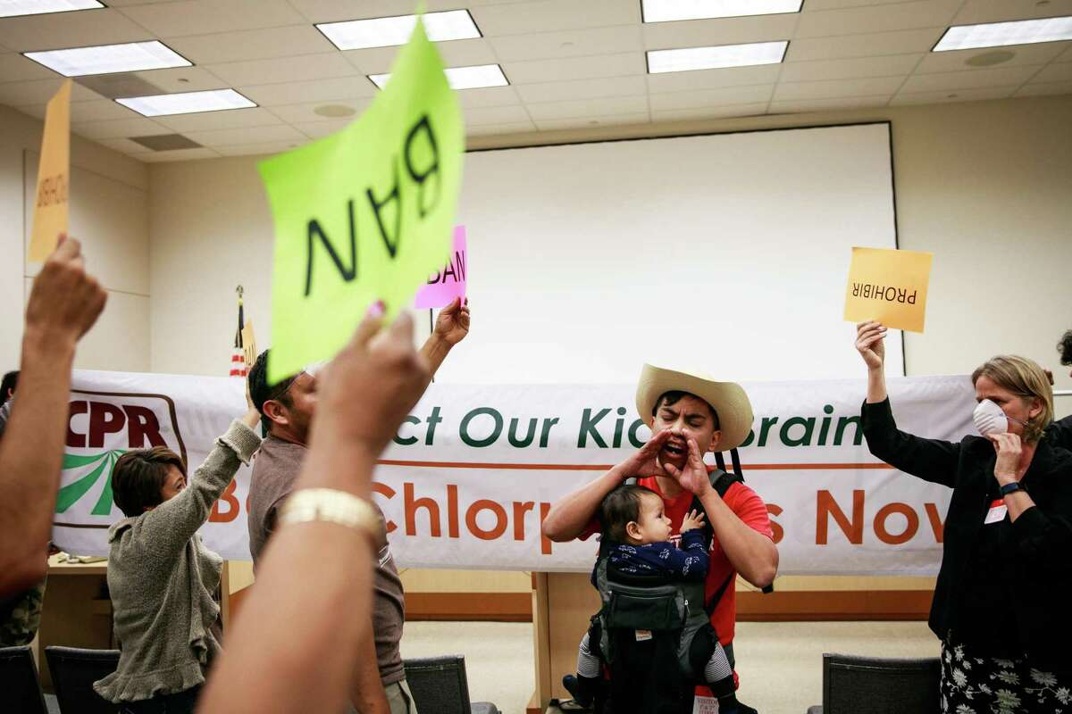 Protesters at the California Environmental Protection Agency headquarters in Sacramento after a public hearing on increasing restrictions on the use of the agricultural pesticide chlorpyrifos in 2018. The government must limit or ban the widely used pesticide, a federal appeals court ruled Thursday.