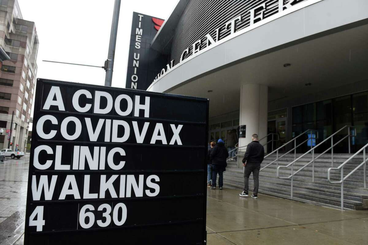 A walk-in Albany County COVID-19 vaccination clinic was held at the Times Union on Thursday afternoon, April 29, 2021, in Albany, N.Y. One out of every two residents in the Capital Region has now received at least one dose of the coronavirus vaccine, making the region the first in the state to vaccinate half its population, state data show. (Will Waldron/Times Union)