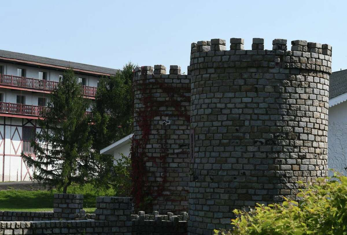 The old Friar Tuck resort is decorated with castle-like turrets on Friday, Sept. 25, 2020, in Catskill, N.Y. Chinese investors have big plans for the long-dormant Catskill Friar resort including water park, skating rink and retail village. Resort is over 200 acres in Catskill but needs major renovation. (Will Waldron/Times Union)
