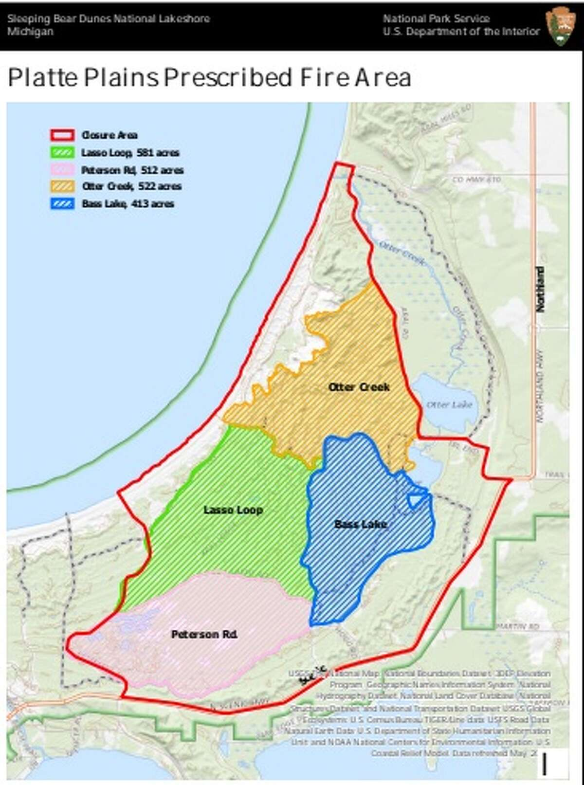 The National Park Service is planning a scheduled burn in several areas of the Sleeping Bear Dunes National Lakeshore.