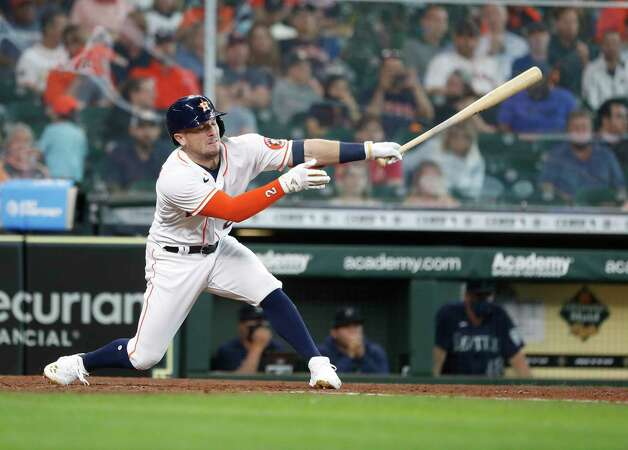 Houston Astros Alex Bregman (2) strikes out against Seattle Mariners starting pitcher Yusei Kikuchi during the seventh inning of an MLB baseball game at Minute Maid Park, Thursday April 29, 2021, in Houston. Photo: Karen Warren, Staff Photographer / @2021 Houston Chronicle