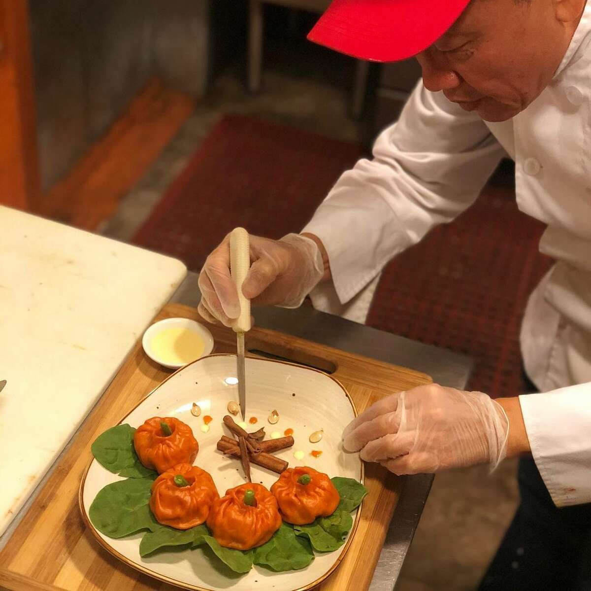 """At Catskill Momos in Delhi, chef """"Jimmy"""" Wangdak Tagsar takes advantage of local farms and in-season produce to tailor his Tibetan momos for upstate customers. In the fall he makes pumpkin momos;in the spring he often makes a special dumpling with ramps."""