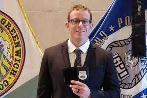 """Greenwich Police Officer Joshua Weinstock, who was sworn in as a Greenwich Police Department officer in 2020, was named """"Officer of the Month"""" for March."""