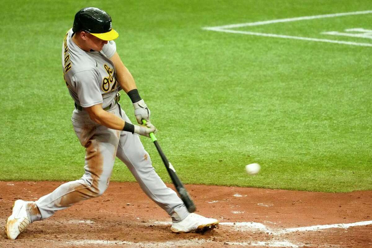 Matt Chapman jolts the go-ahead double in the ninth inning of the A's win over Tampa Bay. He homered in the fourth.