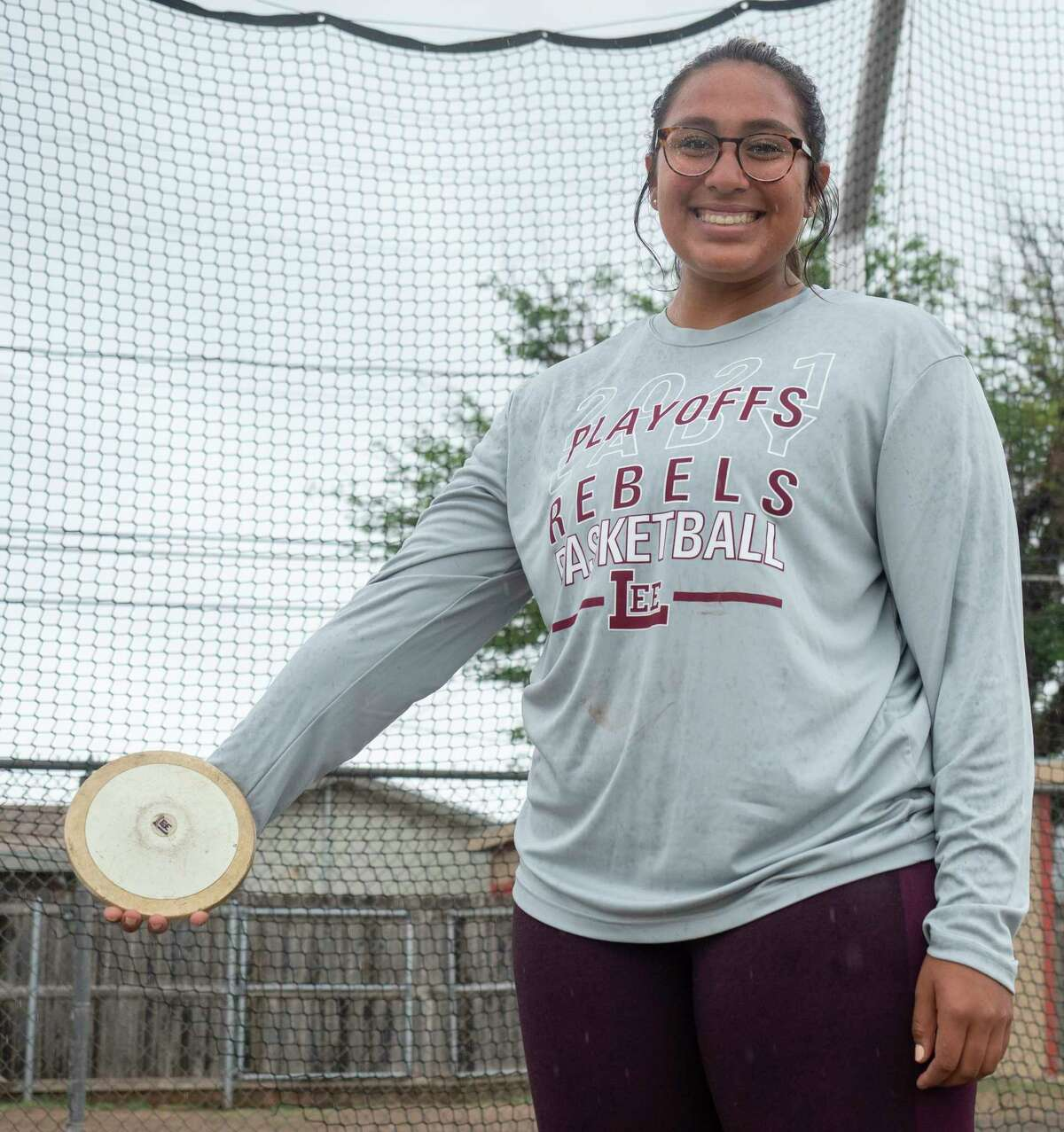 Lee High's Leah Acosta qualified for the state track meet in discus. 04/29/2021 Tim Fischer/Reporter-Telegram